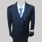 NAVY SOLID BOYS VESTED SUIT Thumbnail