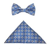 D096. BLUE/WHITE SMALL FLOWERS BOWTIE&HANKY Thumbnail
