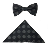 BLK/WHITE BIG DOT BOWTIE SET Thumbnail