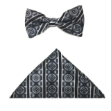 BLK/GREY GEO STRIPE BOWTIE SET Thumbnail