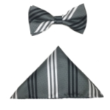 BLK/WHT/GREY STRIPE BOWTIE SET Thumbnail