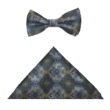 GREY/GOLD FLOWERS BOWTIE SET Thumbnail