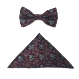 BURG/NAVY FLOWERS BOWTIE SET Thumbnail