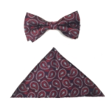 RED/BURGUND PAISLEY BOWTIE SET Thumbnail