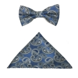 LBLUE/CREAM PAISLEY BOWTIE SET Thumbnail