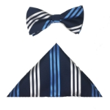 BLUE/WHITE STRIPE BOWTIE SET Thumbnail
