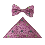 D139. PINK/GREEN DAISY FLOWERS BOWTIE&HANKY Thumbnail