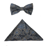 BLACK/GOLD FLOWERS BOWTIE SET Thumbnail