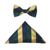 NVY/GRN/GOLD STRIPE BOWTIE SET Thumbnail