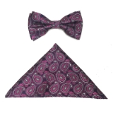 FUCH/PURPLE PAISLE BOWTIE SET Thumbnail
