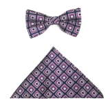D135. NAVY/PINK/WHITE SQUARES BOWTIE&HANKY Thumbnail