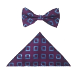 PURPLE/BLUE RHOMBUS BOWTIE SET Thumbnail