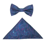 BLUE/PURPLE PAISLEY BOWTIE SET Thumbnail