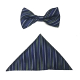 PURPLE/GREEN STRIPE BOWTIE SET Thumbnail