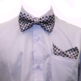 D67. PURPLE/NAVY/WHITE HOUNDSTOOTH BOWTIE SET Thumbnail