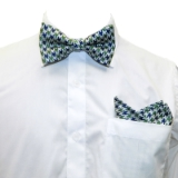 D68. GREEN/NAVY/WHITE HOUNDSTOOTH BOWTIE SET Thumbnail