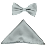 SILVER SOLID BOW TIE SET Thumbnail