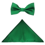 D21. EMERALD SOLID BOW TIE & HANKY SET Thumbnail