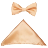 D19. LIGHT PEACH SOLID BOW TIE & HANKY SET Thumbnail