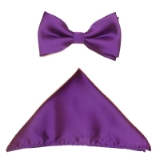 D11. PURPLE SOLID BOW TIE & HANKY SET Thumbnail