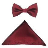 D013. BURGUNDY SOLID BOW TIE & HANKY SET Thumbnail
