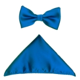 D007. ROYAL BLUE SOLID BOW TIE & HANKY SET Thumbnail
