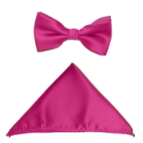 D015. FUCHSIA PINK SOLID BOW TIE & HANKY SET Thumbnail