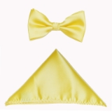 D020. YELLOW SOLID BOW TIE & HANKY SET Thumbnail