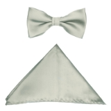 D003. LIGHT GREY SOLID BOW TIE & HANKY SET Thumbnail