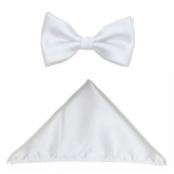 D005. WHITE SOLID BOW TIE & HANKY SET Thumbnail