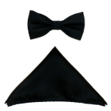 BLACK SOLID BOW TIE SET Thumbnail