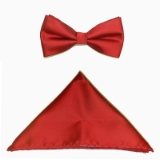 D014. RED SOLID BOW TIE & HANKY SET Thumbnail