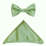 D22. MINT GREEN SOLID BOW TIE & HANKY SET Thumbnail