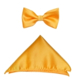 D018. PEACH SOLID BOW TIE & HANKY SET Thumbnail