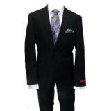 61. ADOLFO BLACK SOLID SLIM FIT 2PIECE SUIT Thumbnail