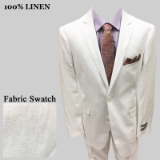 S36. WHITE SOLID 100% LINEN 2 PIECE SUIT Thumbnail