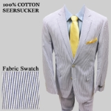 S34. BLUE 100% COTTON SEERSUCKER 2 PIECE SUIT Thumbnail