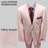 S35. PINK 100% COTTON SEERSUCKER 2 PIECE SUIT Thumbnail