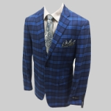 12. BLUE/BLACK PLAID 100%COTTON SPORTCOAT Thumbnail