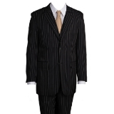 BLACK/WHITE WIDE STRIPE VESTED W.PEAK LAPEL  Thumbnail
