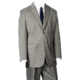 LIGHT GREY/WHITE STRIPE VESTED W.PEAK LAPEL  Thumbnail