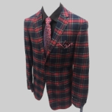 15. RED/NAVY/TAN PLAID 100% COTTON SPORTCOAT Thumbnail