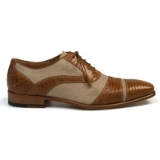 PERSEO CAMEL LEATHER/FABRIC MEZLAN SHOE Thumbnail